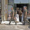 UNIFIL French peacekeepers on foot patrol in Bint Jbeil town of south Lebanon.
