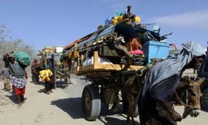 Des Somaliens fuient la ville de Afgooye tenue par les insurgés.
