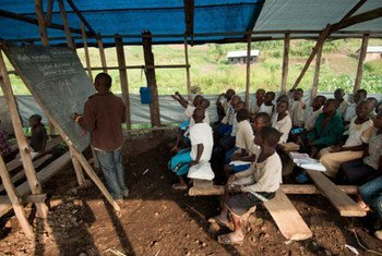 Children in the Democractic Republic of Congo during a lesson at the Mugosi Primary School, close to the Kahe refugee camp.