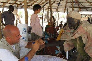Enregistrement de nouveaux arrivants au camp de Yusuf Batil à Maban dans l'état du du Haut-Nil au Soudan du Sud.
