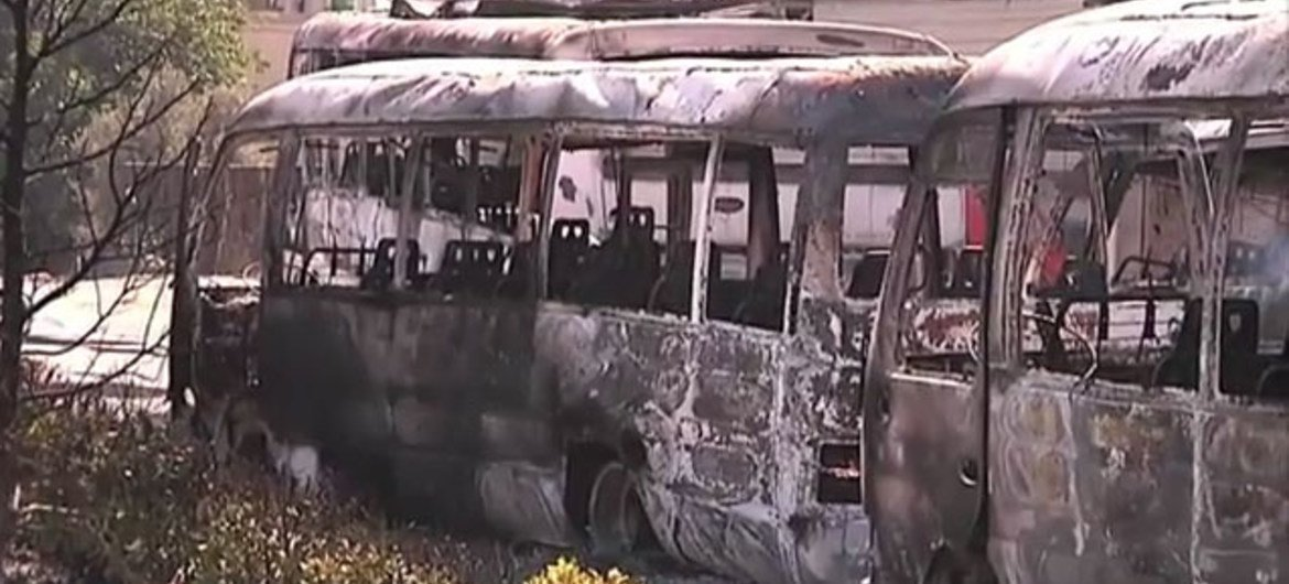 Remains of burnt buses outside a power plant in the Qaboun suburbs of Damascus, Syria, in June 2012.