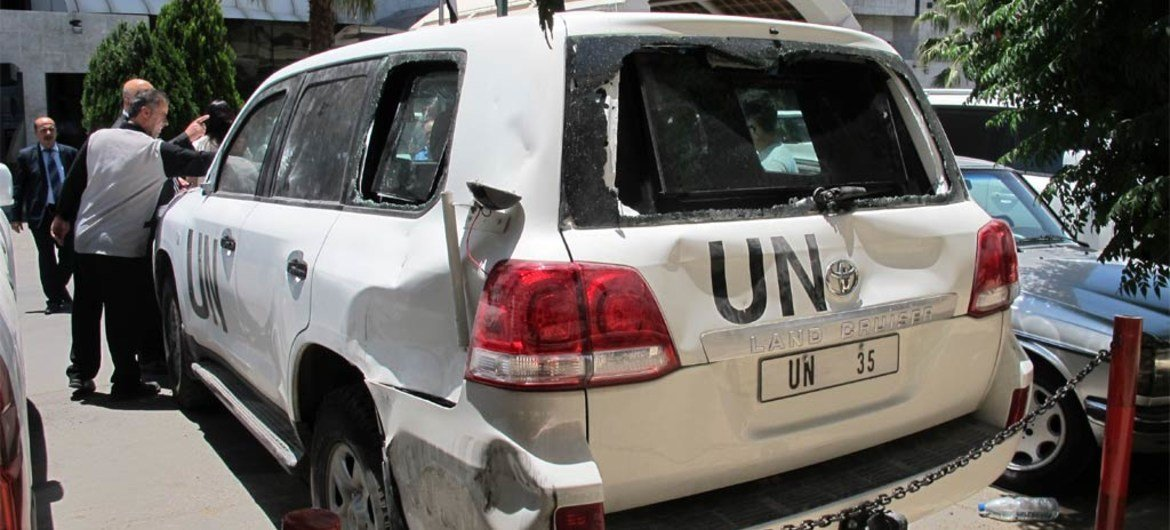 This UN vehicle was damaged by an angry crowd in El-Haffeh, Syria, on 12 June 2012 as it tried to access the area.