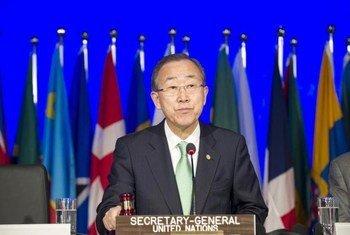 Le Secrétaire général de l'ONU, Ban Ki-moon, lors de l'ouverture de la Conférence Rio+20. Photo ONU/Mark Garten