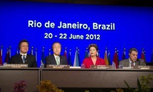 Opening of Rio+20: (L-R) Secretary-General of Rio+20, Sha Zukang, Secretary-General Ban Ki-moon, President Dilma Rousseff of Brazil and Under-Secretary-General for General Assembly Affairs and Conference Management, Muhammad Shaaban.
