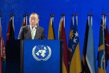 Le Secrétaire général lors d'une séance plénière de la Conférence Rio+20.