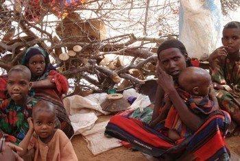 Une famille dans un abri de fortune du camp de Kobe, situé dans la région de Dollo Ado, en Éthiopie.