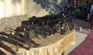 Some light and heavy weapons collected from fighters under a disarmament programme.