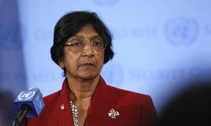 High Commissioner for Human Rights Navi Pillay speaks to reporters after a closed-door briefing on Syria to the Security Council.
