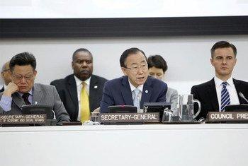 Secretary-General Ban Ki-moon addresses high-level meeting of the Economic and Social Council.