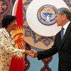 UN human rights chief Navi Pillay (left) meets President of Kyrgyzstan Almazbek Atambayev.