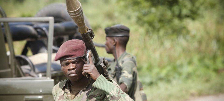 Des soldats des Forces Armées de la République Démocratique du Congo (FARDC) au cours d'une opération militaire visant le groupe rebelle M23, le 20 mai dernier.