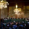 View of the International Court of Justice (ICJ) Bench during the reading of its Judgment in the case concerning former Chadian President Hissène Habré.