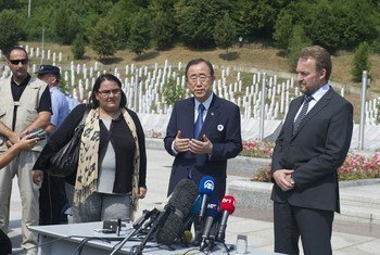 Secretary-General Ban Ki-moon (centre) visits the memorial in Srebrenica for the 1995 massacre of 8,000 Muslim men and boys by Bosnian Serb forces.