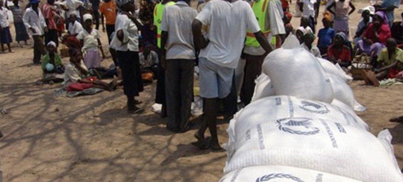 Au Zimbabwe, le PAM s'efforce de lutter contre l'insécurité alimentaire en distribuant des céréales aux populations touchées. PAM/Richard Lee.