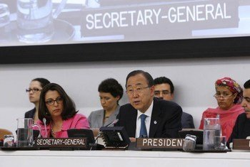 Le Secrétaire général des Nations Unies Ban Ki-moon à l'Assemblée générale. Photo ONU/Devra Berkowitz