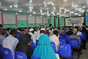 Delegates attend a plenary session of the National Constituent Assembly in Mogadishu, Somalia.