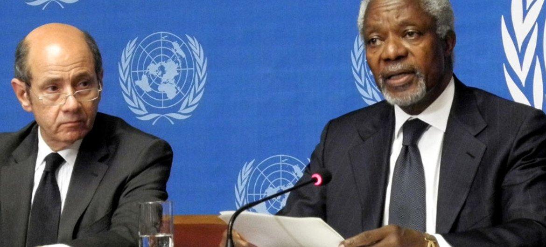 l'Envoyé spécial conjoint des Nations Unies et de la Ligue des États arabes pour la crise en Syrie, Kofi Annan. Photo ONU/Y. Castanier