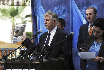 Maxwell Gaylard, UN Resident and Humanitarian Coordinator, and other UN officials at press conference launching new report.
