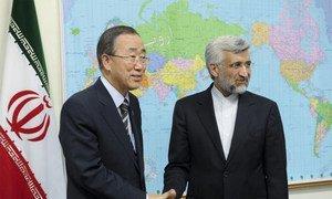 Secretary-General Ban Ki-moon meets with Secretary of the Supreme National Security Council, Saeed Jalili.