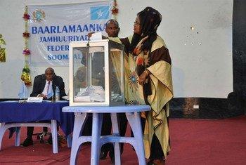 Mogadiscio, le 28 août 2012. Le nouveau Parlement fédéral somalien élit son  Président du Parlement.