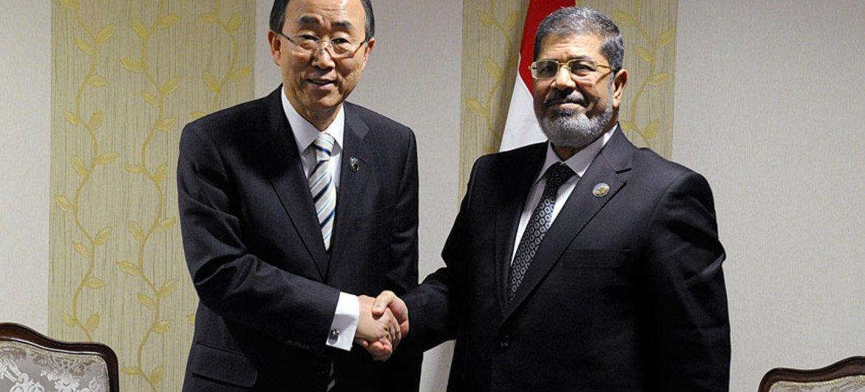 Secretary-General Ban Ki-moon and President Mohamed Morsy of Egypt.