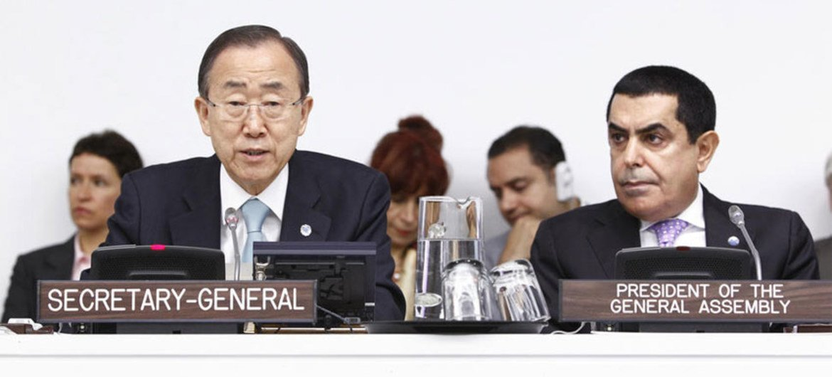 Secretary-General Ban Ki-moon addresses informal Dialogue of the General Assembly on the Report of the on the Responsibility to Protect.