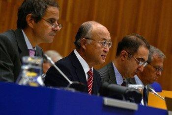 Le Directeur général de l'AIEA, Yukiya Amano, lors d'une réunion du Conseil des gouverneurs de l'AIEA.