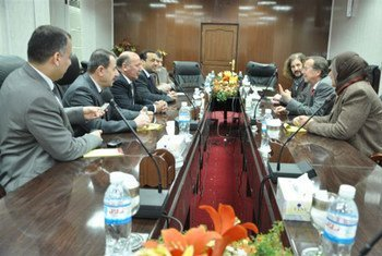 Special Representative Martin Kobler (right) at meeting with IHEC Board of Commissioners in February 2012.