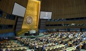 Vue de la salle de l'Assemblée générale. ONU Photo/Eskinder Debebe