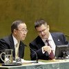 President of the General Assembly Vuk Jeremić (right) with Secretary-General Ban Ki-moon at the opening of the 67th session of the Assembly.