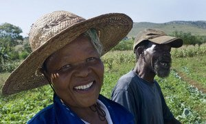 A farmer and his wife working in a vegetable plot irrigated by water from the Mpatheni Dam in Swaziland.