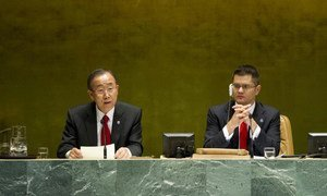 Secretary-General Ban Ki-moon addresses the High-Level Meeting of the General Assembly on the Rule of Law. At right is Assembly President Vuk Jeremic.