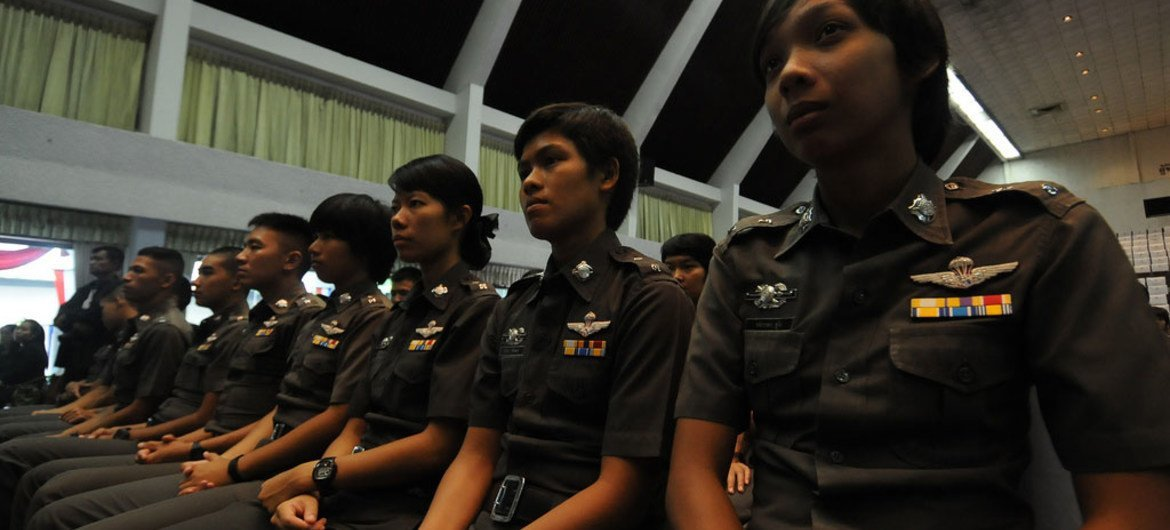 Recruiting women police officers is key to the rule of law. In this photo, Thai police cadets receive training on ending violence against women and girls.