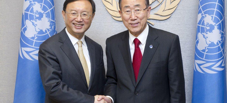 Secretary-General Ban Ki-moon (right) meets with Foreign Minister Yang Jiechi of China.