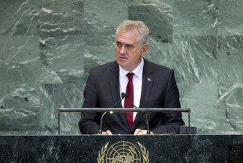 Le Président de la Serbie s'adresse à l'Assemblée générale de l'ONU, lors du débat général de sa 67ème session. Photo ONU/Marco Castro