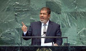 Le Président de l'Égypte, Mohamed Morsy, à la tribune de l'Assemblée générale des Nations Unies.