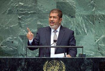 L'ancien Président égyptien Mohamed Morsi lors de son intervention lors du débat général de la soixante-septième session de l'Assemblée générale des Nations Unies.