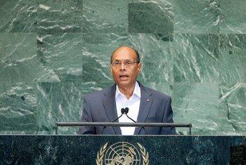 Le Président de la Tunisie, Moncef Marzouki, devant l'Assemblée générale des Nations Unies.