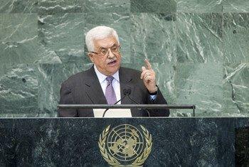 Le Président de l'Autorité palestinienne, Mahmoud Abbas, à la tribune de l'Assemblée générale, le 27 septembre 2012.