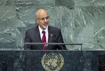 Le Président de la Libye, Mohamed Youssef El-Magariaf, s'adresse à l'Assemblée générale, le 27 septembre 2012.
