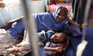 A Somali mother and her child in a medical centre in the Dadaab refugee complex.