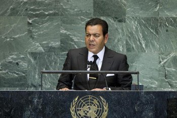 Le Prince Moulay Rachid du Maroc, à la tribune de l'Assemblée générale.