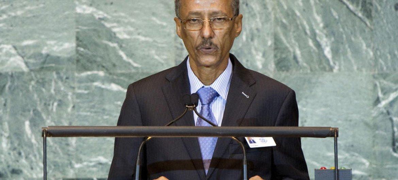Le Ministre mauritanien des affaires étrangères et de la coopération, Hamadi Ould Baba Ould Hamadi, à la tribune de l'Assemblée générale.