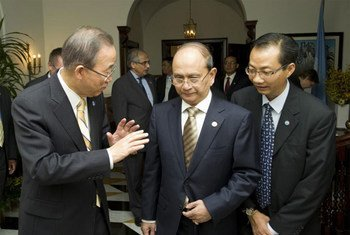 Secretary-General Ban Ki-moon (left) and President U Thein Sein of Myanmar.