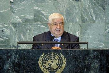 le Ministre des affaires étrangères de la Syrie, Walid El-Moualem, à l'Assemblée générale.