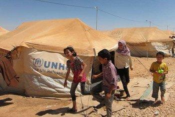 Des jeunes réfugiés syriens dans le camp de Za'atri en Jordanie.