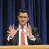General Assembly President Vuk Jeremic briefs press.