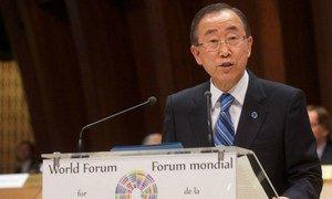 Secretary-General Ban Ki-moon addresses the World Democracy Forum.
