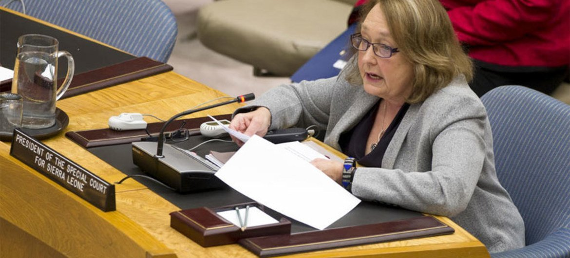 Justice Shireen Avis Fisher, President of the Special Court for Sierra Leone, addresses the Security Council.