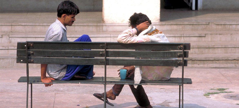 Les patients d'un hôpital psychiatrique à Delhi, en Inde.